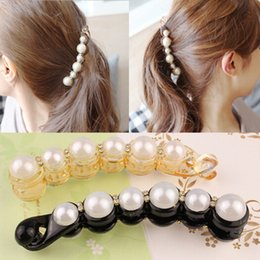 Sterling Hair Clips Australia - 1Pc 11cm Simulated Pearls Hairpins Hair Clips Jewelry Banana Clips Headwear Accessories Women Hairgrips Girl Ponytail Barrettes