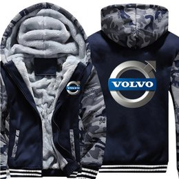 Thick Cotton Material NZ - New style Winter Casual Thickened Jackets and Coats VOLVO printing Cashmere hoodie Keep warm Hooded Thick Zipper cotton material Sweatshirts