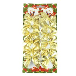 $enCountryForm.capitalKeyWord Australia - 2017 Hot Selling 12Pcs Christmas Tree Ornaments Xmas Bowknot Tree Hanging Decor Gold Drop Shipping ap809