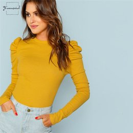 puff sleeves formal shirts Australia - Mustard T Shirt Elegant Minimalist Puff Sleeve Knit Solid Pullovers Slim Fit Tee Autumn Office Lady Women Rib Top
