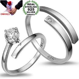 $enCountryForm.capitalKeyWord Australia - OMHXZJ Wholesale Fashion Fall in love Lovers Zircon diamond 925 Sterling Silver open adjust female for Woman Man Ring RG34