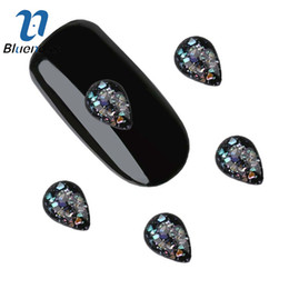 $enCountryForm.capitalKeyWord Australia - harms nail designs Blueness 3D Nail Art Decoration Teardrop Glitter Crystals Black Gem Glass Pattern Charms Nails Design Manicure Accesso...
