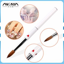 $enCountryForm.capitalKeyWord NZ - wholesale 1Pcs Kolinsky Sable Acrylic Nail Art Brush Size 16# Oval Form UV Gel Nail Brush With Red Heart Metal Handle Manicure Tool