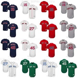 Wholesale custom Men women youth Majestic Red Sox Jersey Dustin Pedroia Carlton Fisk Pedro Martinez Home Blue Red Stitched Baseball Jerseys