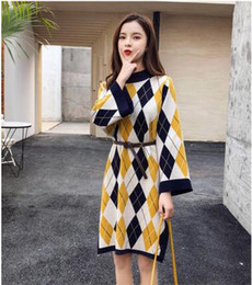 Small Fat UK - 2018 The New Big Size Female Dress Fat Sister Tea Sleep Skirt Small Fragrance Knitted Sweater Skirt Fat Bottom Dress