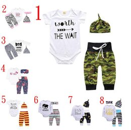 $enCountryForm.capitalKeyWord Australia - Baby girl INS letters rompers suit 7 Style Children Short sleeve triangle rompers+paillette shorts+bowknot Hair band 3pcs sets clothes Q-01