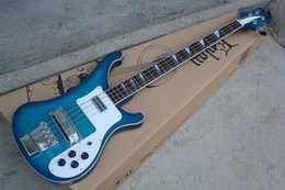 custom electric bass guitars NZ - Factory Custom New Arrival 4 strings Rosewood Fingerboard Blue Electric Bass Guitar with Chrome hardware,White Pickguard,offer customize