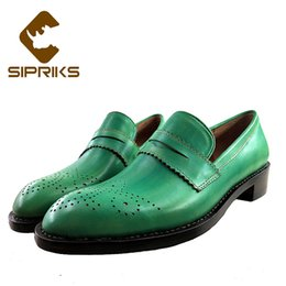 $enCountryForm.capitalKeyWord NZ - Sipriks Imported Italian Calf Leather Slip On Dress Shoes Carved Patina Green Leather Brogue Shoes Without Lace Goodyear Welted