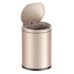 Steel Induction UK - Small Automatic Trash Can Touchless Intelligent Induction Garbage Bin With Inner Bucket Contactless Circulator Quiet Lid Close Can Rose Gold