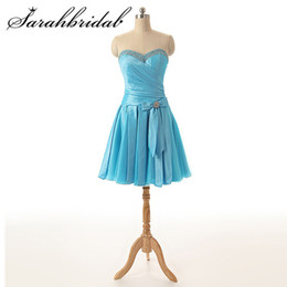 41d4f720af1 Cheap Sweety Homecoming prom Dresses Bow Pleat Sleeveless Sweetheart Beaded  Lace Up Crystal Knee Length Cocktail Gowns SD174