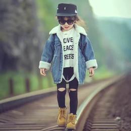Kids wearing jeans online shopping - Kids Wear Medium Long Winter Coat Boys Lambs Wool Denim Jacket For Children Boys Girls Plus Cashmere Jeans