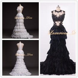 $enCountryForm.capitalKeyWord NZ - Real Pictures Black & White Feather Mermaid Prom Dresses 2019 Elegant Lace Applique Beading Evening Gowns Sexy Pageant Graduation Dresses