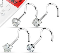 Wholesale Tragus Piercing Zircon Screw Nose Stud Heart Round Star Shape Nose Ring Eyebrow Bar Helix Cartilage Earring Stud Body Jewelry Wholesales