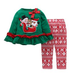 Suits Price NZ - 2019 Newest Hot Selling Factory Price High Quality Cotton Kids Girls Christmas Dress Pants Suits Baby Girls Suits