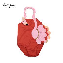 Discount wholesale swimwear brands - HIRIIGN Brand Polyester Newborn Kid Baby Girls 3D Flamingo Pattern Swimsuit Swimming Costume Swimwear Ages 1-6Y