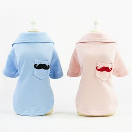 $enCountryForm.capitalKeyWord NZ - pet dog polo shirts puppy apparel clack mustache pattern pet dog spring summer clothes pink blue wholesale
