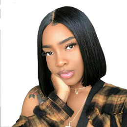 $enCountryForm.capitalKeyWord Australia - Short Bob Wigs Peruvian Virgin Hair Straight Lace Front Human Hair Wigs For Black Women Swiss Lace Frontal Wig
