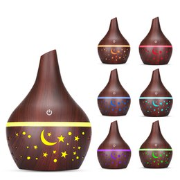 electric aromatherapy diffuser light UK - 300ml Air Humidifier USB Wood Grain 7 Colors Moon light Electric Aroma Air Diffuser Home Aromatherapy Mist Maker Mini Purifier Humidifier