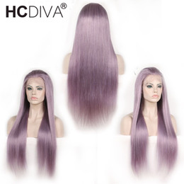 long 22 inch brazilian hair Australia - Pre Colored Purple Human Hair Wigs 13x4 Lace Frontal Wigs 150% Density Brazilian Straight Hair Long Lace Wig 10-24 Inches HCDIVA Hair