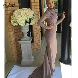 $enCountryForm.capitalKeyWord Australia - Vintage Cheap Modest Arabic High Neck Mermaid Long Sleeves Prom Dresses New Lace Appliqued muslim Formal Evening Gowns