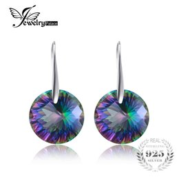 128866a09 Chessboard 38ct Natural Mystic Fire Rainbow Topaz Round Drop Earrings 925  Sterling Silver For Women 2015 New Fine Jewelry