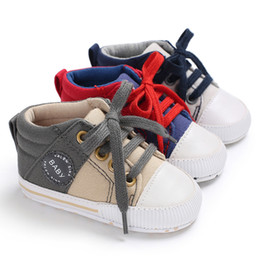 Boys Canvas Slip Shoes Australia - LONSANT Newborn Boys Girls Crib Shoes Canvas Lace Up Mixed Colors Shoes Crib first walkers Soft sole Baby Anti-slip