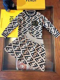 Cheap winter Clothing sets online shopping - Kid clothing set designer for little girl dress F letter drsign brand cheap dress set brown color autumn winter fashion outwear