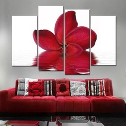 Decorative Canvas Prints Australia - Print Poster Wall Decorative 4 Pieces Pcs Red Flower Canvas Painting HD Artwork Framework Modular Pictures For Living Kids Room