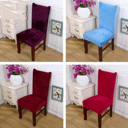 Wholesale Chair Slipcovers Australia - Solid Fox Pile Velevt Chair Covers Removable Dustproof Elastic Stretch Chair Covers Chair protector Slipcover Kitchen Dining Party Wedding