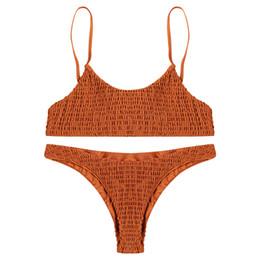 Sexy Woman Silver Swimsuits Australia - Sexy Pleated Bikini Women Swimsuit Swimwear Set Beachwear Bathing Suit