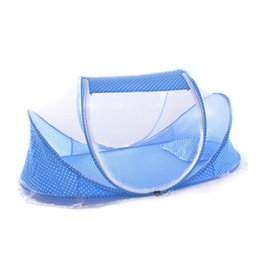 portable baby travel cribs 2019 - Wholesale-Hot Sale Cute Baby Crib Portable Type Comfortable Babies Pad with Sealed Mosquito Net Travel Baby Mosquito Net