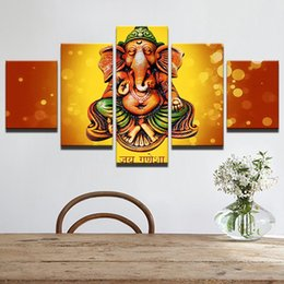 $enCountryForm.capitalKeyWord NZ - HD Wall Art 5 Set Prints Pictures Ganesha Elephant God Canvas Painting Frame Poster Modular Home Restaurant Decor House Painting
