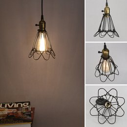 Diy Lamps Industrial UK - Fashion Vintage Wire Lamp Cage DIY Lampshade Industrial Lamp Guard Cage Lamp Shade Guard Classic Black Nordic Bulb Cover