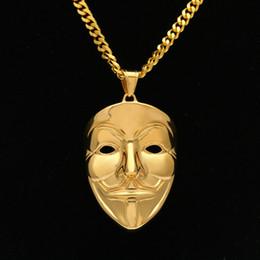 $enCountryForm.capitalKeyWord NZ - Hip Hop V-Vendetta Mask Clown Mask Pendant New Stainless Steel Gold Plated Pendant Necklace