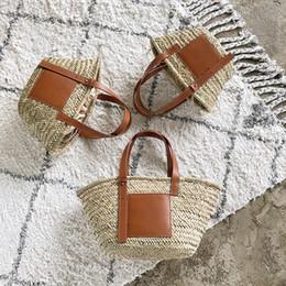 large gold handbags 2019 - Fashion Brand Design Women Straw Handbags 3 Sizes Large Basket Causal Shoulder Tote Bags Seaside Beach Bags Europe and A