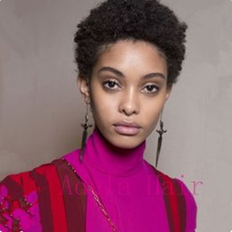 curling for short hair 2019 - Afro Kinky Curls 100% Human Hair Wigs Black 1B Color Short Curly Natural Looking Wigs for Black Women cheap curling for