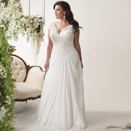 $enCountryForm.capitalKeyWord Australia - Elegant Plus Size Wedding Dresses V-neck Cap Sleeves Robe De Mariage 2019 Sweep Train Appliqued Open Back Chiffon Bridal Gown Y19073001