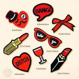 Lipstick Clothing Australia - 100pcs lot Lipstick Sunglasses Cartoon Badges Embroidery Patch Applique Clothes Clothing Sewing Supplies Decorative Badge Patches