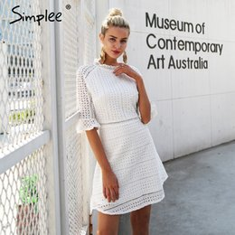 $enCountryForm.capitalKeyWord Australia - Simplee Elegant Hollow Out Lace Dress Women Half Sleeve Summer Style Midi White Dress 2018 Spring Short Casual Dress Vestidos J190621