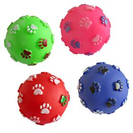 feet soft toys UK - Funny Pet Dog Foot Print Ball Toy Colorful Sound Squeaky Toys for Dogs Cats Soft Rubber Chew Sound Interactive Ball Toys