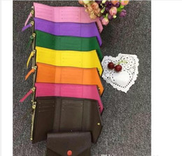 Wholesale top quality women man with original box luxury multicolor short wallet Card holder classic zipper pocket Victorine