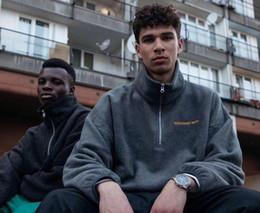Wholesale zipper up hoodie online – oversize Streetwear Hip hop gosha rubchinskiy Half zipper Mens women Fleece Pullover Sweatshirt Hoodies Outwear Coat Jacket