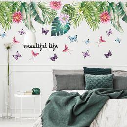 $enCountryForm.capitalKeyWord Australia - 60*90cm*2 wall stickers decoration flower green leaf PVC waterproof home decor wall decor for kids room art pictures decorative Wallpaper