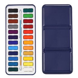 H Case Australia - 24 Watercolour Paint Set With Brush In Case Painting Water Colour Art Artist Kit