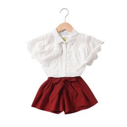Girls Lace Summer Shorts Set UK - 2019 new kids designer clothes girls suits lace princess girls boutique outfits kids sets blouse shirt+bows shorts kids sets A5612
