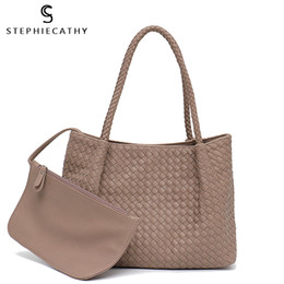 Ladies Navy Handbags Australia - Sc Women Vegan Leather Handbag Female Large Totes High Quality Handmade Woven Big Ladies Shoulder Top-handle Bags&purse Bag J190611