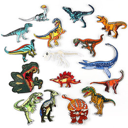 Appliques Sew Clothes Australia - Dinosaur Embroidery Patches for Clothes Tyrannosaurus Rex Giganotosaurus Sewing Iron On Patch Applique DIY Badge Stickers 16pcs Per Lot
