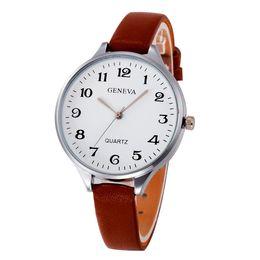 Huang Neeky 2019 # 503 Mujeres Damas casuales de cuero de imitación de cuarzo analógico reloj de pulsera damas relojes de primeras marcas de lujo envío gratis