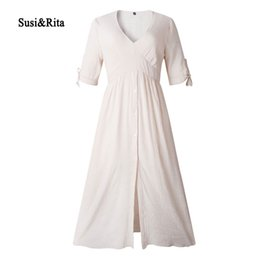 9b137739dd7 Susi Rita 2019 Long Beach Dress Women Sexy V-Neck Ladies Dress Summer Short  Sleeve Casual Loose Dresses Vestidos Robe Femme