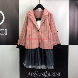 $enCountryForm.capitalKeyWord Australia - Girls suit set kids designer clothing pink striped suit jacket + camisole skirt 2pcs autumn cute princess wind set